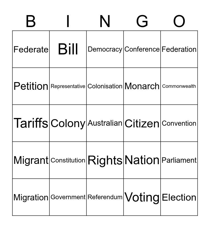 Federation Bingo Card
