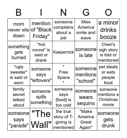 Thanksgiving 2016 Bingo Card