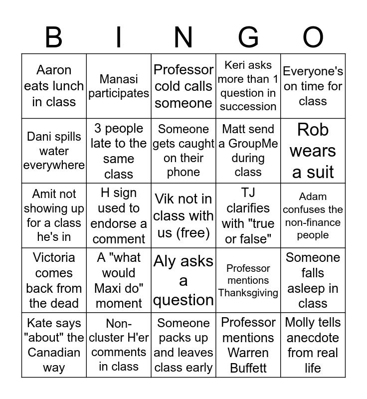Cluster H Bingo Card
