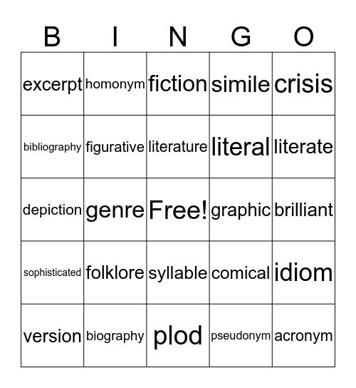 Language and Writing Bingo Card