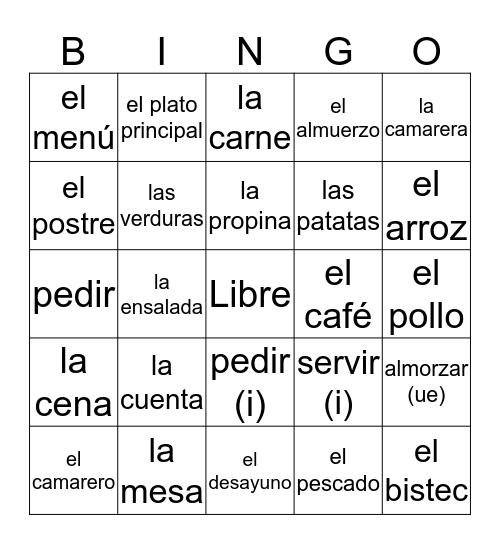 El Restaurante Bingo Card