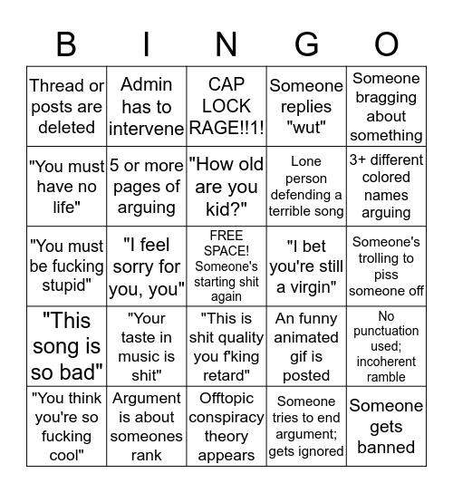 Clublandlv.com Fight Bingo Card