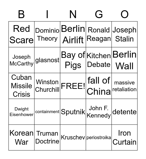 Cold War Bingo Card