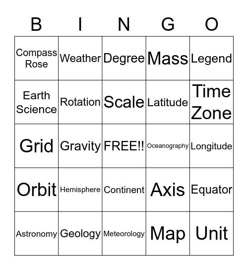 Earth Science Bingo!  Bingo Card
