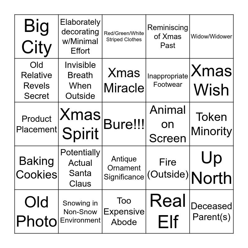 Hallmark Channel Holiday Bingo Card