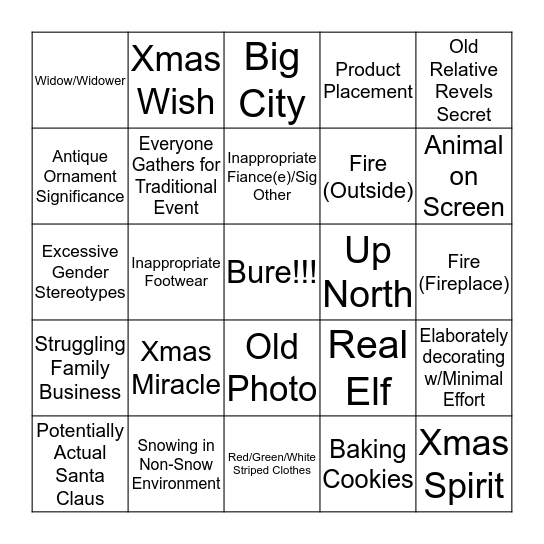 Hallmark Channel Holiday Bingo Card