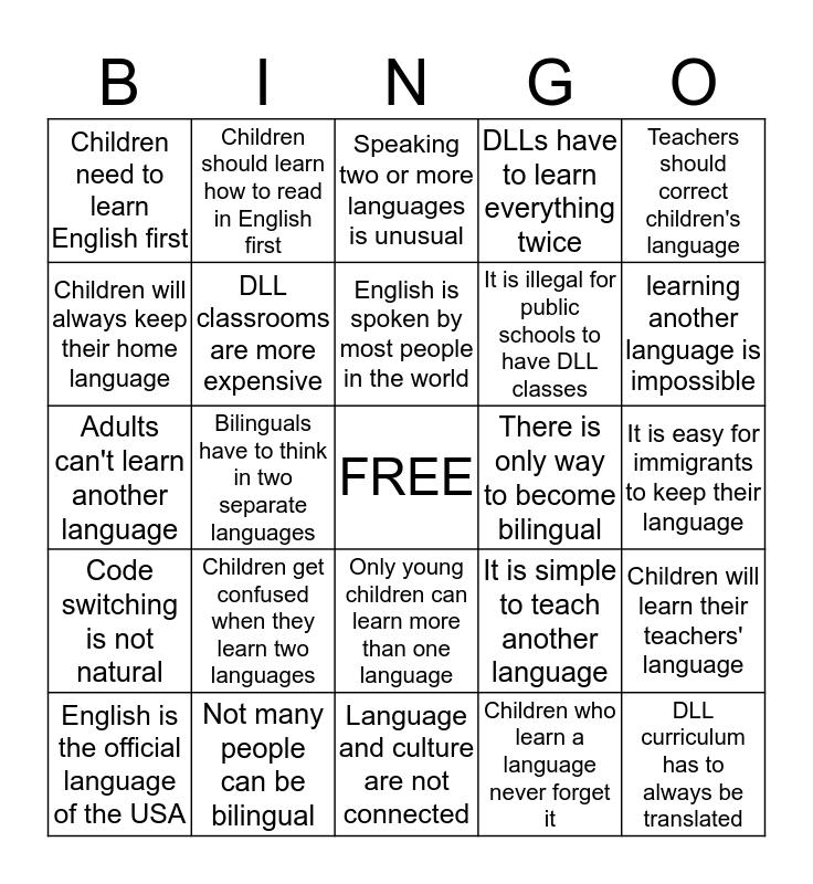 MYTHS ABOUT BILINGUALISM Bingo Card