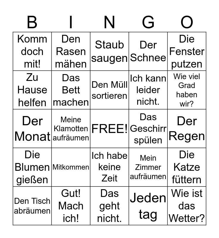 Chapter 7 Deutsch Bingo Card