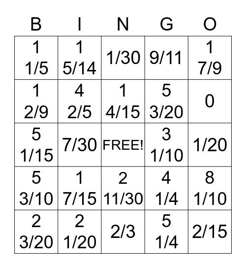 5th Grade Fraction Bingo Card
