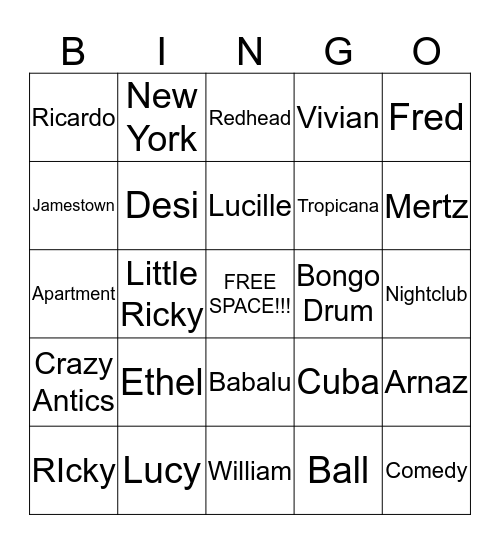 I LOVE LUCY Bingo Card
