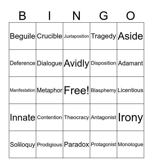 Vocabulary Bingo 11th VI Bingo Card
