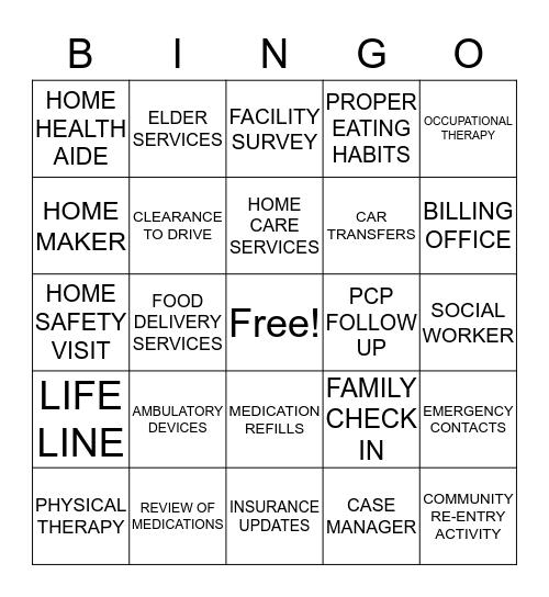 DISCHARGE PLANNING  Bingo Card