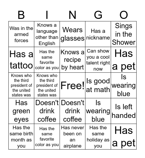 Socialization bingo Card