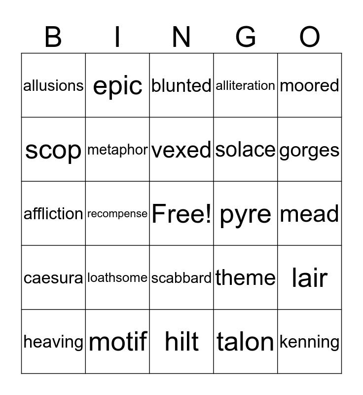 beowulf bingo II Bingo Card
