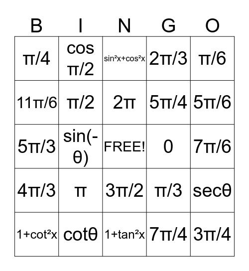 Pre Calc. Bingo Card