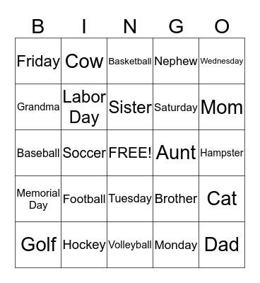 Sara's Bingo Card