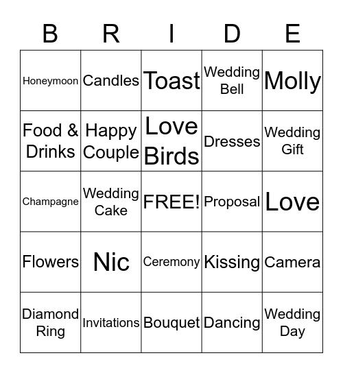 Nic + Molly = June 8, 2013 Bingo Card