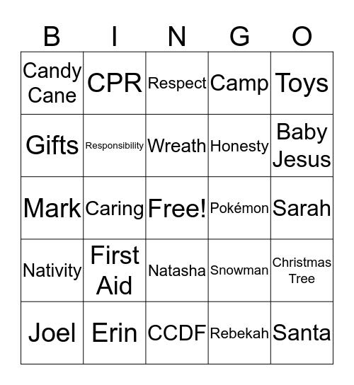 YMCA Christmas Bingo Card