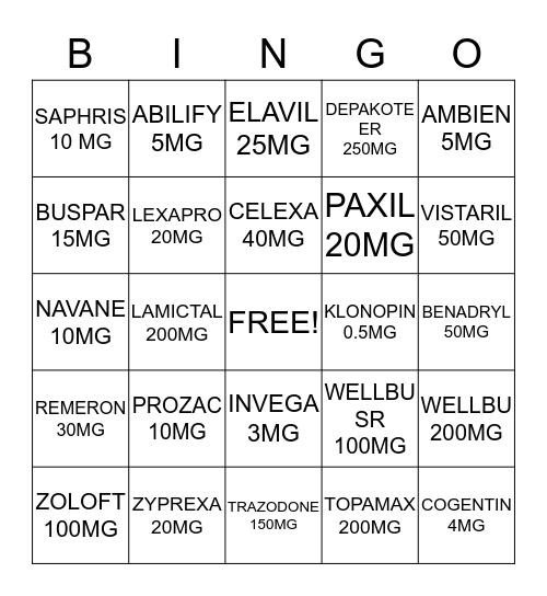 MEDICATION BINGO Card
