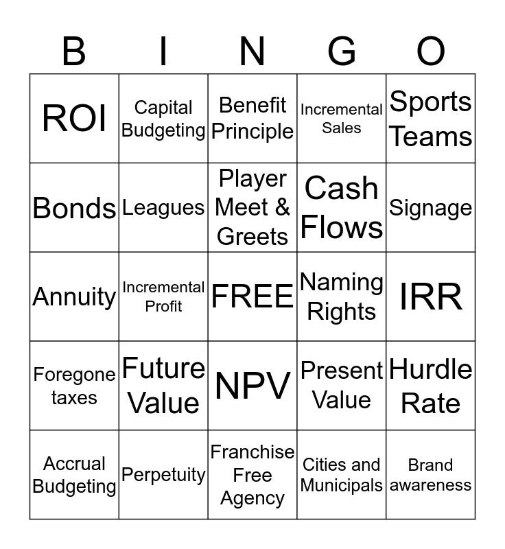 Finance in Sports FINAL Bingo Card