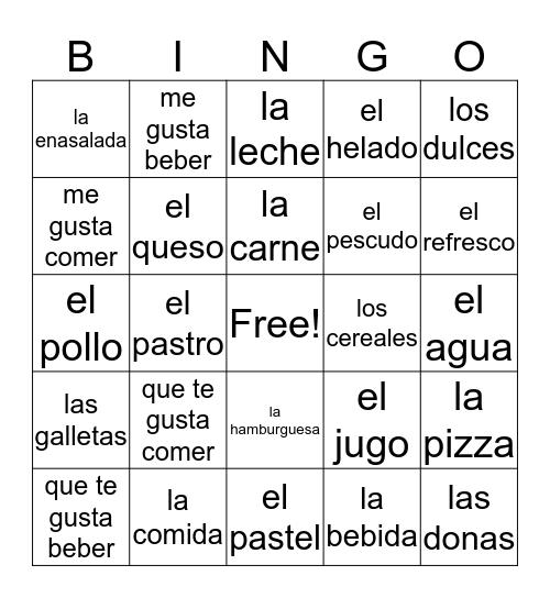 spanish food Bingo Card