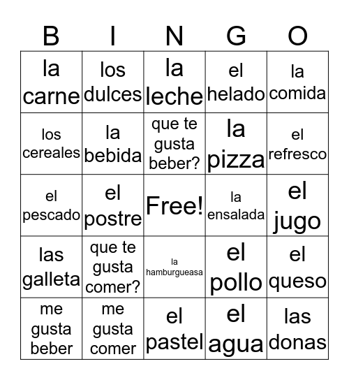 food spanish Bingo Card