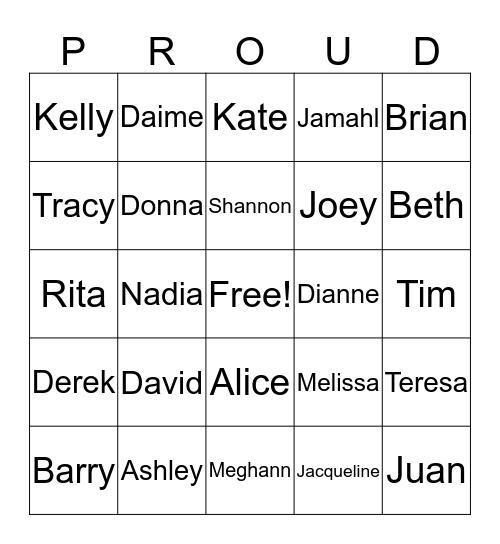 Who did that? Bingo Card