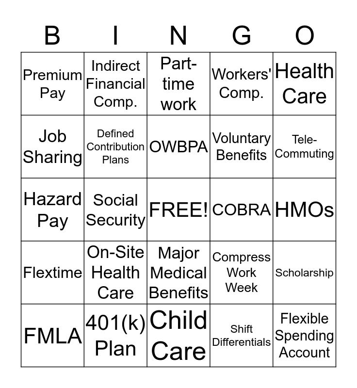 Indirect & Non-financial Compensation Bingo Card