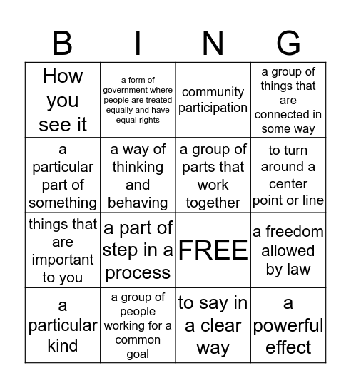 HWOO, HTWW, and HWEO VOCABULARY WORDS Bingo Card
