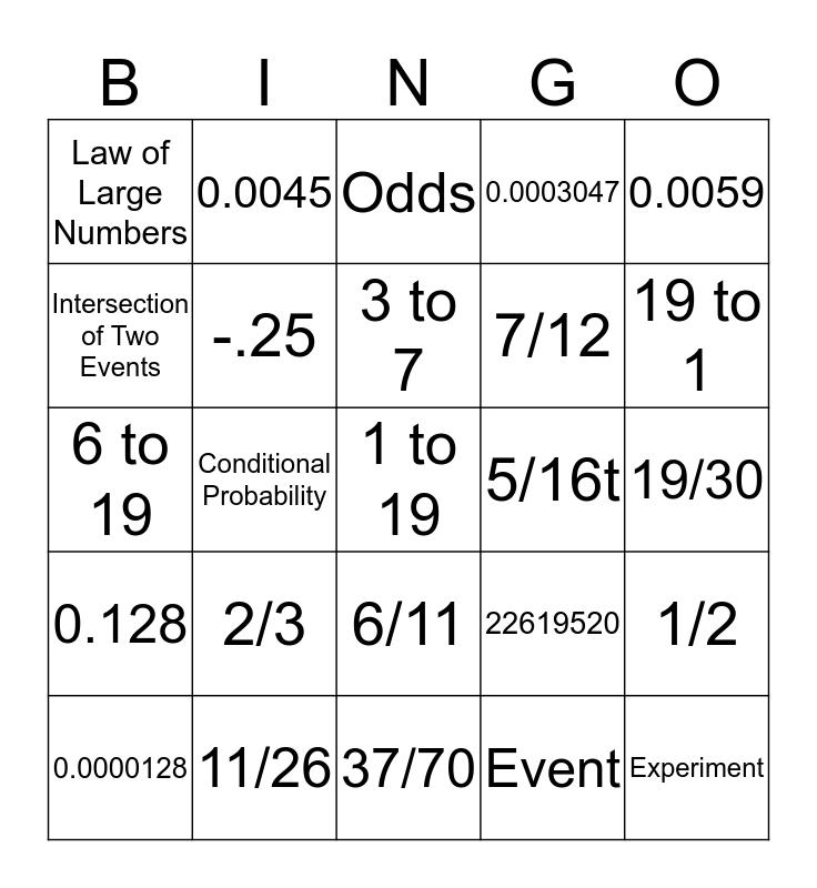 Probability Bingo Card