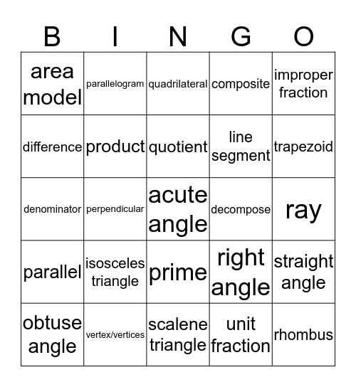 Common Core Math Vocabulary Bingo Card