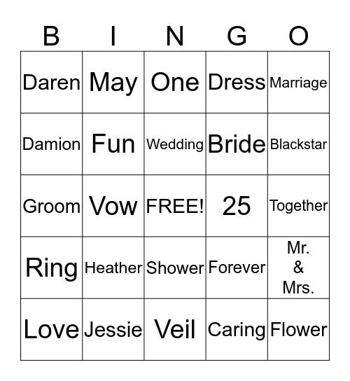 Heather's Shower Bingo Card