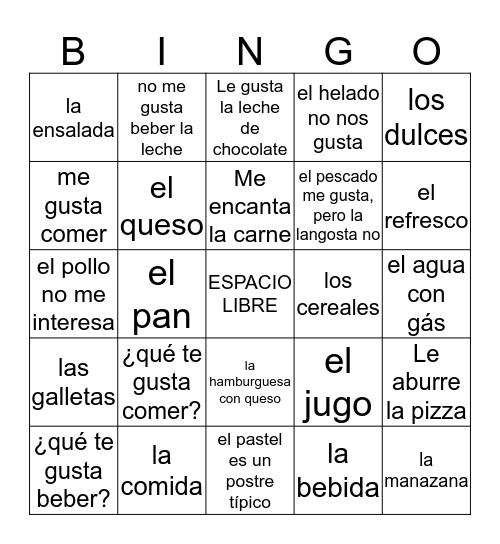 spanish food , likes and dislikes Bingo Card