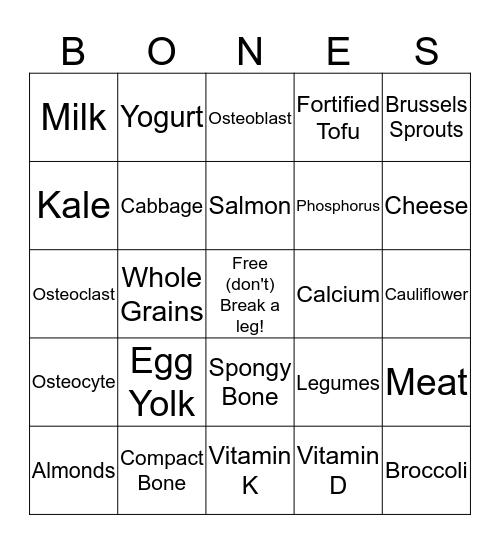 BONES Bingo Card