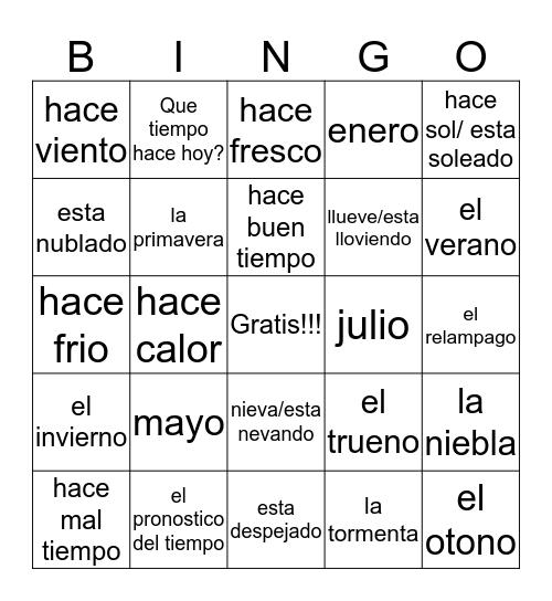 El tiempo - The weather Bingo Card