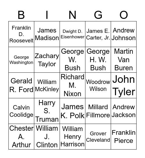 USA Presidents Bingo Card