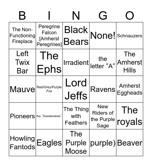 The Future of Amherst College  Bingo Card