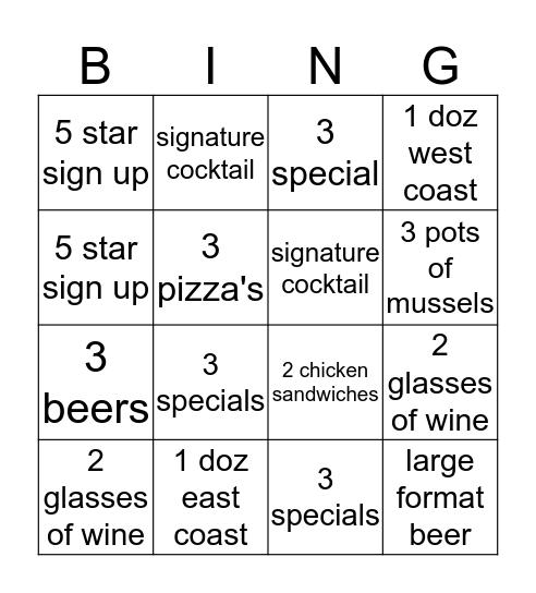 mussel bar bingo Card