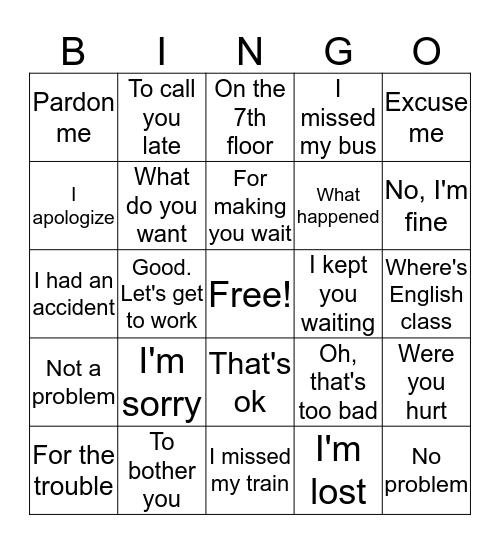 I'm sorry ~ Bingo Card