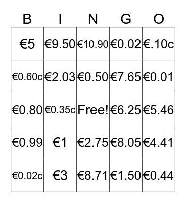 Money, Money, Money Bingo Card