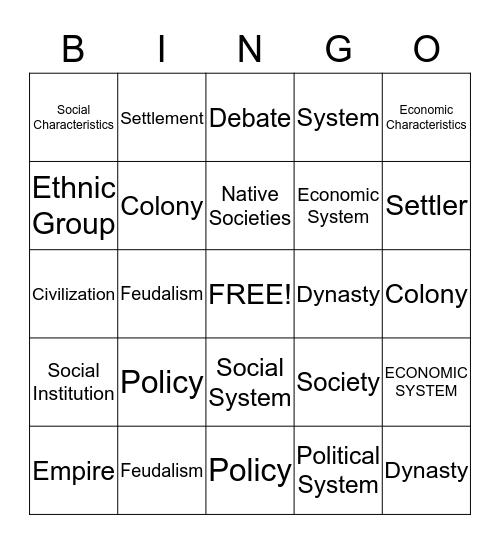 HISTORY VOCABULARY Bingo Card