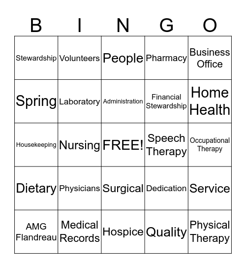 HAPPY HOSPITAL WEEK! Bingo Card