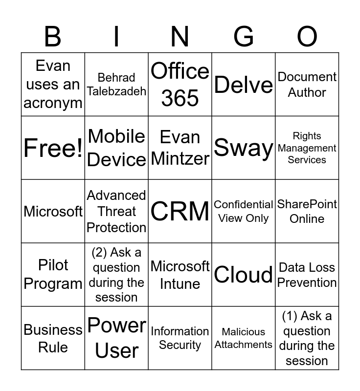 Office 365 Security Bingo Card