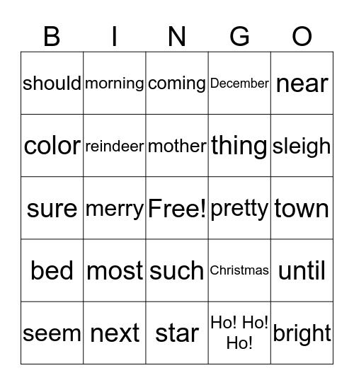 Word Bingo Green Bingo Card