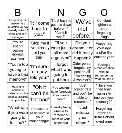 Memory Issues Bingo Card
