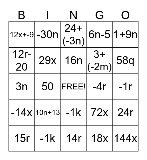 combinding like trems Bingo Card