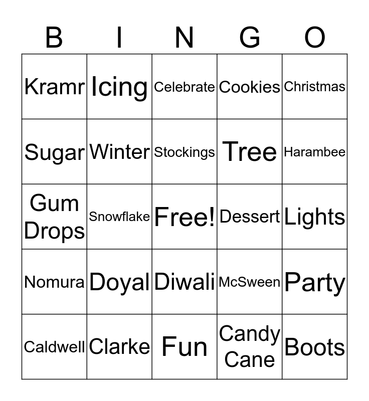 Winter Party Bingo Card