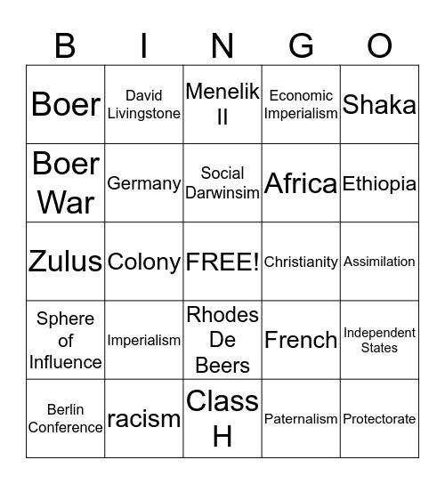 Scramble for Africa Bingo Card