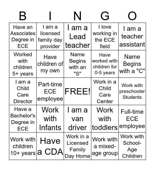 Interpersonal Bingo Card