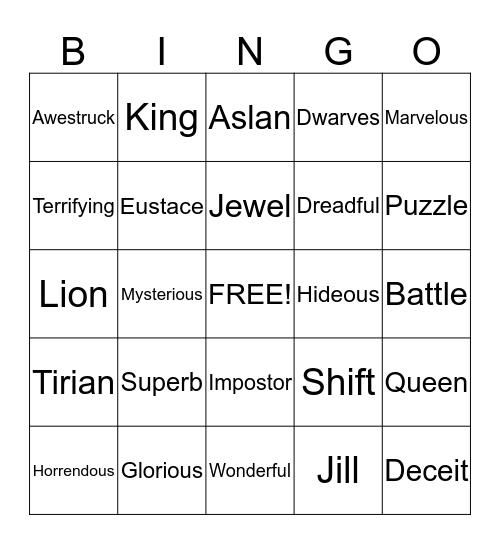 Narnia Bingo Card